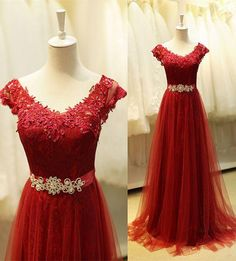 Long Prom Dress With Cap Sleeves I1078