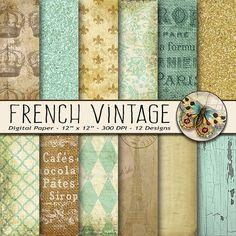 French Vintage Digital Paper, Old Paper Digital Paper, Paris Scrapbook, French Paper Pack, Parisian Wallpaper, Vintage Paper, Fleur de Lis #design #printables
