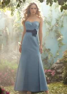 Style 505  Disney Fairytale Weddings Bridesmaid dress with slit  comes in 60 colors.  satin dress with organza belt.