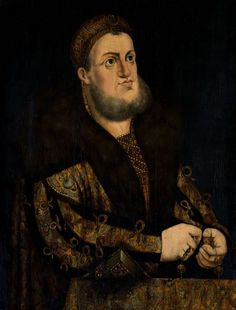 Portrait of Frederick the Wise, Elector of Saxony by circle of Lucas Cranach the Elder, 1510s, Kórnik Castle. In 1522, Emperor Charles V proposed engagement of Hedwig Jagiellon, the eldest daughter of Sigismund I, king of Poland with John Frederick, heir to the Saxon throne and Frederick the Wise's nephew, as elector, most probably homosexual in relationship with Degenhart Pfäffinger, remained unmarried. #portrait #elector #saxony #artinpl #lucascranach #gay #kornikcastle… Flower Art Images, Lucas Cranach, Renaissance Portraits, Name Art, Flower Aesthetic, Dress Images, The Heirs, Emperor, Tattoo Images