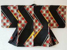 geometrical zigzag Kimono jacket black,red,pink,yellow/ikat meisen silk Haori/unique Japanese vintage/mid century modern/chrysanthemum