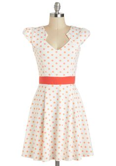 The Story of Citrus Dress - Polka Dots, Mid-length, White, Orange, A-line, Cap Sleeves, Daytime Party, Vintage Inspired, 40s