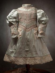 antique doll dress | Antique French Silk Dress Respectful Bear