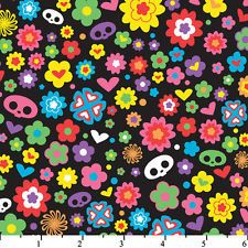 Modern Retro Fabric, Flowers and Love Ditzy by Skelanimals, Floral Fabric, Animal Fabric, Skeletons, Teen Fabric, 01942