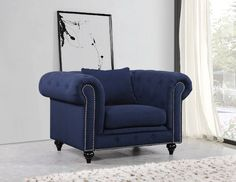 Meridian Furniture Chesterfield Navy Linen Chair Velvet covers the plush, comfortable seat, padded with high-density foam and modern tufted design. Chesterfield Living Room, Chesterfield Chair, Living Room Chairs, Meridian Furniture, Velvet Armchair, Traditional Furniture, Grey Chair, Club Chairs, Arm Chairs