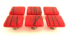 Red with Black Streamers Glass Knobs | Flickr: partage de photos!