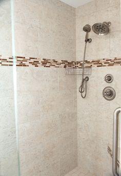 Tiled shower in ocean front remodel in Southern Shores, NC Custom Homes, Southern, Monogram, Ocean, Shower, Pattern, Rain Shower Heads, Sea, The Ocean