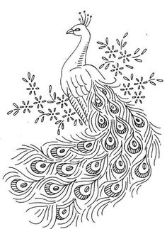 Hand Embroidery Patterns Free, Crewel Embroidery Kits, Iron On Embroidery, Embroidery Flowers Pattern, Simple Embroidery, Embroidery Transfers, Silk Ribbon Embroidery, Machine Embroidery, Peacock Embroidery Designs
