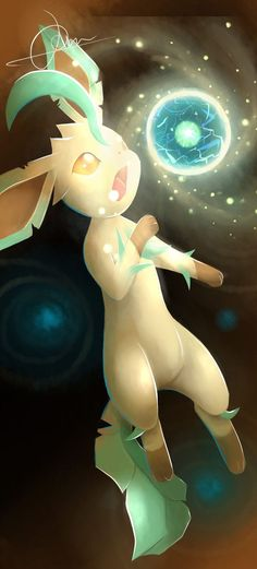 This is Leafeon using energy ball