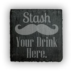 Square Slate Coasters (set of 4)  - Stash Your Drink Here