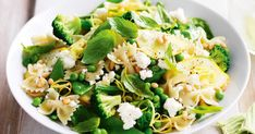 Take advantage of seasonal vegetables with this wholesome vegetarian pasta topped with toasted pine nuts and ricotta.