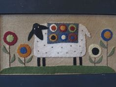 "8""x16"" Penny Sheep Wool Applique"