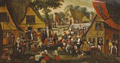 "Martin Van Cleve (1527-1581), ""The feast of Saint Sebastian"", oak panel, three boards, reinforced, 46.5 x 86 cm. Lille, 15 February, Mercier & Cie auction house. Mr. Millet."