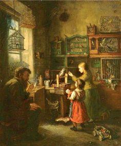 """""""O Vendedor de Pássaros"""" → Joseph Mayr Castellbell - 1821/1893 - Pintor Alemão."""