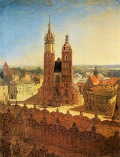 Jan Matejko, St. Mary's church, (no date provided). The complementary palette of blue and orange is fantastically utilized. It's warm and has a grandiose feel due to the space.