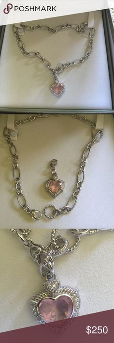 Judith Ripka heart necklace Stunning Judith Ripka rose quartz heart pendant and silver necklace. Purchased from QVC by me originally. In excellent condition. No damage. This is a beautiful necklace and pendant by a talented jewelry designer. Jewelry Necklaces