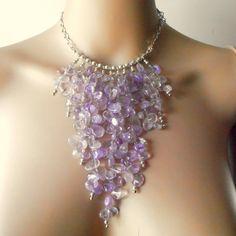 Beaded Statement Necklace Chunky Purple Ametrine Semi Precious Gemstone Bib Necklace in Silver Statement Jewelry Handmade. via Etsy.