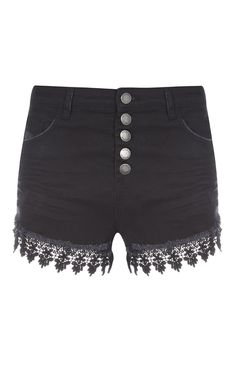 Black Crochet Hem Button Shorts