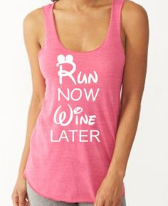 Run Now Wine Later. Disney Tank. Workout Tank. by FitGirlClothing
