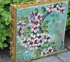 Blossoms All the Time - Jennifer Lanne - idea of brocade tacked to canvas edge