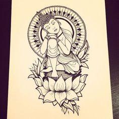 Adelaide M. Sleeping Buddha By Adelaide Mitchell - Adelaide M. Sleeping Buddha By Adelaide Mitchell - Buddha Lotus Tattoo, Buddha Tattoo Design, Lotus Tattoo Design, Buddha Tattoos, Mandala Arm Tattoo, Buddhism Tattoo, Meditation Tattoo, Meditation Space, Yoga Tattoos