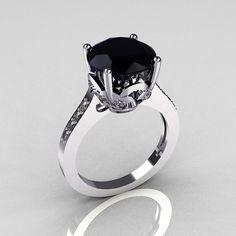 Clásico 14K oro blanco 35 quilates diamante negro por artmasters