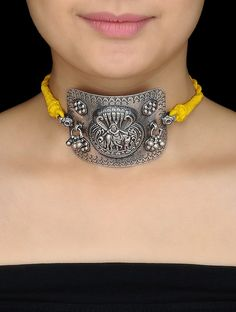 Buy Yellow Thread Silver Armlet cum Necklace with Lord Krishna Motif Online at Jaypore.com