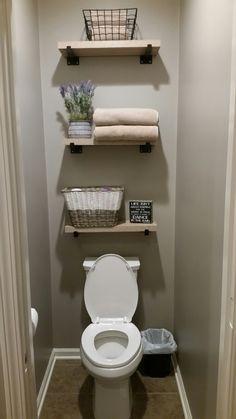 Best Small Bathroom Storage Organization And Tips Ideas – diy bathroom ideas Bathroom Wall Shelves, Diy Bathroom Vanity, Bathroom Wall Decor, Bathroom Ideas, Gold Bathroom, Brown Bathroom, Bath Ideas, Bathroom Inspiration, Ikea Vanity