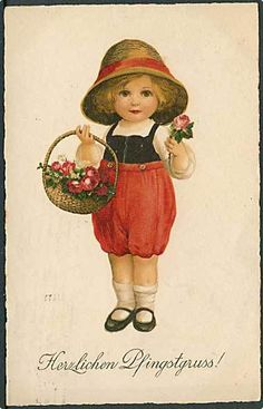 """Girl with Flower Basket"" (1925) from cornucopia on Ruby Lane"