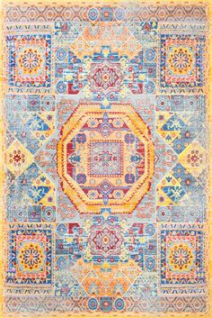 Yellow to add a color punch to any space! This is Rugs USA's Pacifica Rustic Octagon Token Rug!