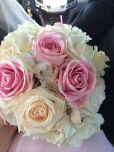 Bridesmaid Bouquet Option 2- roses will be in blush and cream tones instead of the medium pink color shown.