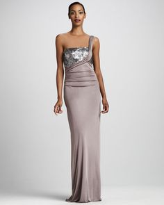 f2b6810134b Kay Unger New York - Sequined One-Shoulder Gown Kay Unger