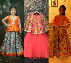 Wedding fashion for kids – A Guide Golden Lehnga, Western Dresses, Half Saree, Kids Wear, Wedding Styles, Kids Fashion, That Look, Sari, Cute
