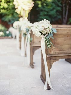 : hydrangea posy for wedding ceremony aisle decor :. Wedding Aisles, Wedding Ceremony Seating, Wedding Ceremony Flowers, Wedding Chairs, Wedding Beauty, Dream Wedding, Wedding Day, Wedding Church, Trendy Wedding