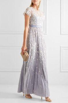 Lavender tulle Concealed zip fastening along back 100% nylon; lining: 100% polyester Dry clean Designer color: Dust Blue/ Ecru