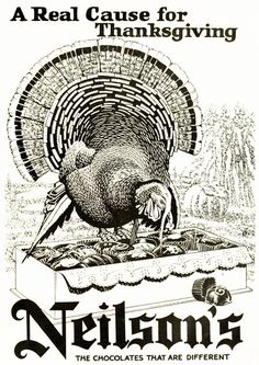 """Dying for Chocolate: CHOCOLATE: """"A Real Cause for Thanksgiving"""" - Retro... Thanksgiving Greetings, Vintage Thanksgiving, Vintage Fall, Vintage Halloween, Retro Vintage, Dh Lawrence, Lots Of Cats, Vintage Advertisements, Ads"""
