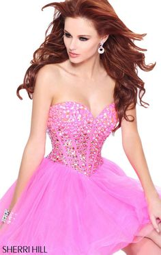 Sherri Hill 21101 Strapless Backless Beaded Pink Tulle 2014 Homecoming Dress