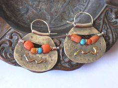 Orange Silver Earrings, Orange Hoop Earrings, Orange Coral Hoops, Coral Turquoise Earrings, Silver E Orange Earrings, Tribal Earrings, Turquoise Earrings, Silver Hoop Earrings, Stone Earrings, Beaded Earrings, Ethnic Jewelry, Boho Jewelry, Jewelry Gifts