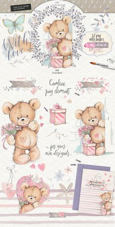 Teddy bears 2 in 1 pack by Mikibith on @creativemarket