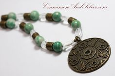 Green Jade Stone and Clear Quartz Beaded by CinnamonandSilver