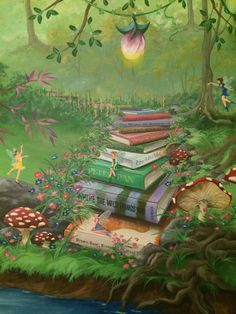 Enchanted forest bedroom mural - Book staircase with more mature books as you climb out of the fairy glen.  #HannonArtWorks