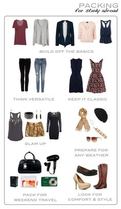 Ideas of outfits and clothing pieces to pack! So useful! I never know what I should bring!