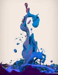 Dropping, fluid sculpting, high-speed photographs of ink mixing with Oil. by Alberto Seveso