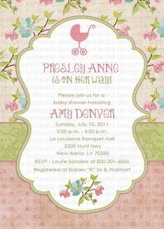 baby girl shower invitations shabby chic digital por katiedidesigns