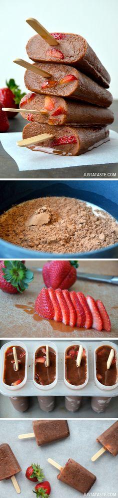 Chocolate-Covered Strawberry Fudgesicles #recipe