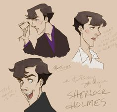 """If Disney did Sherlock --- this is spot-on perfect, drawing-wise. I would watch the HECK out of Disney Sherlock."""" Be loads better than most of what they got now Sherlock Fandom, Sherlock Holmes, Jim Moriarty, Otaku, Mrs Hudson, Sherlolly, Bd Comics, Illustrations, Disney Illustration"""