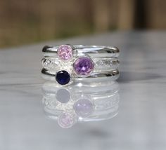 Birthstone Stacking Ring set of 3 Stacking Family & Mother's Rings
