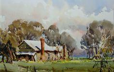 Risultati immagini per Ross Paterson Watercolor Watercolor Artists, Watercolor Landscape, Landscape Art, Landscape Paintings, Watercolour Paintings, Landscapes, Australian Painters, Australian Artists, Australian Sheds