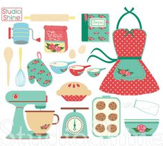 Retro Baking Cooking Digital Clipart Set Clip Art by StudioShine