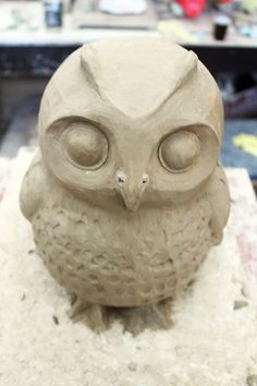 clay owl sculptures | The whole process took me two or three days working 1 – 2 hours a ...